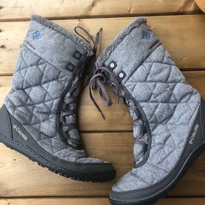Columbia Quilted Winter Snow Boots Grey Flannel Minx Mid Lace Up Women's 10